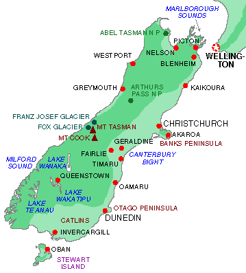 Map South Island